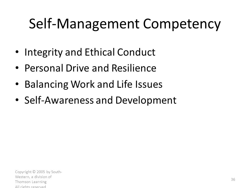 Self-Management Competency