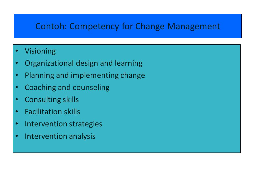 Contoh: Competency for Change Management