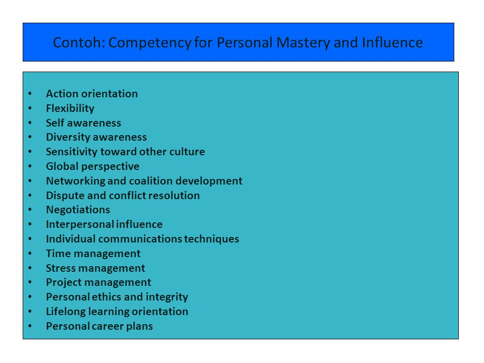 Contoh: Competency for Personal Mastery and Influence