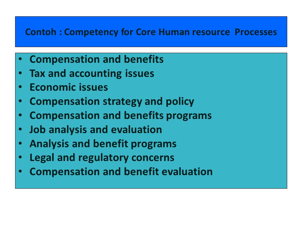 Contoh : Competency for Core Human resource Processes
