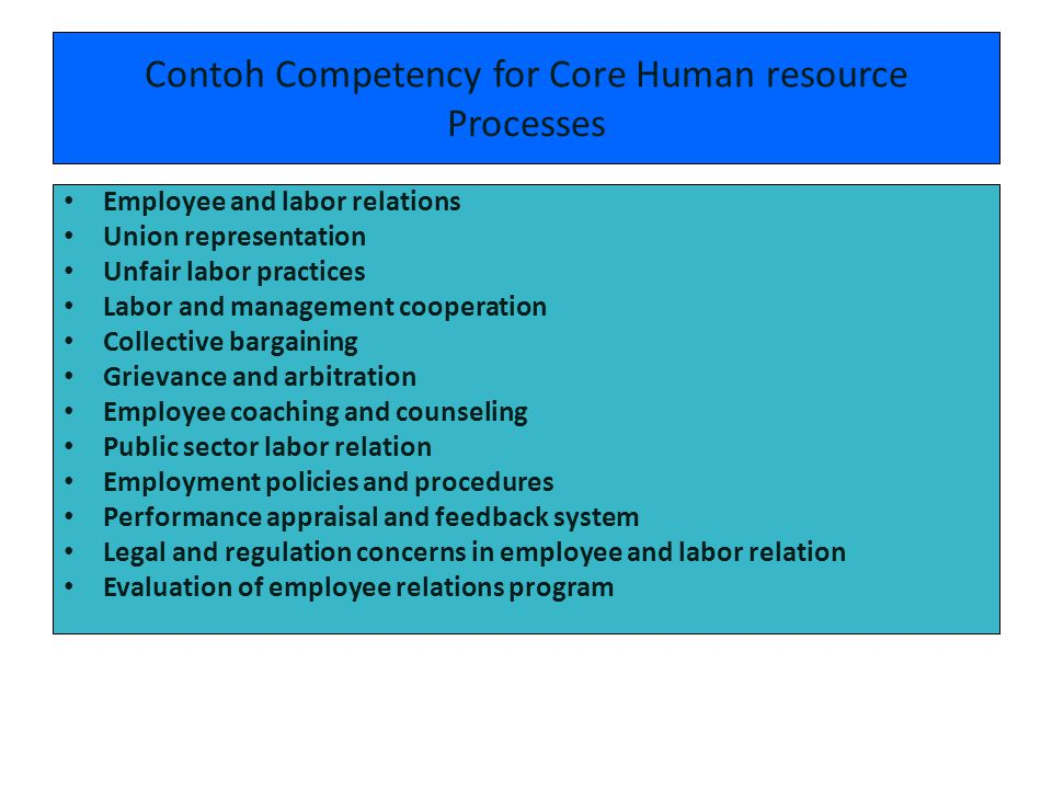 Contoh Competency for Core Human resource Processes
