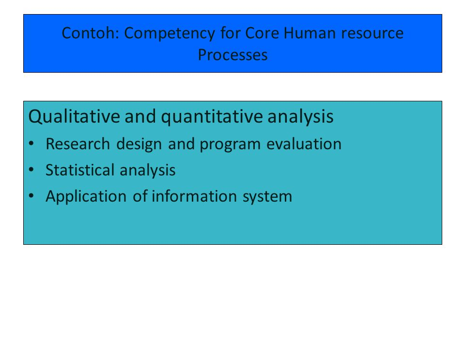 Contoh: Competency for Core Human resource Processes