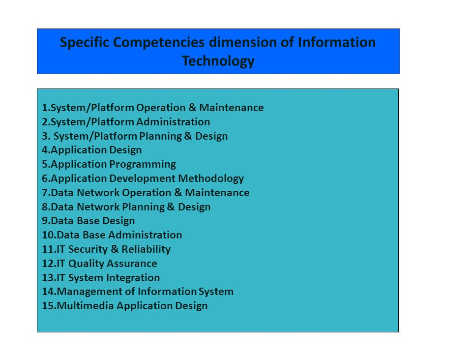 Specific Competencies dimension of Information Technology