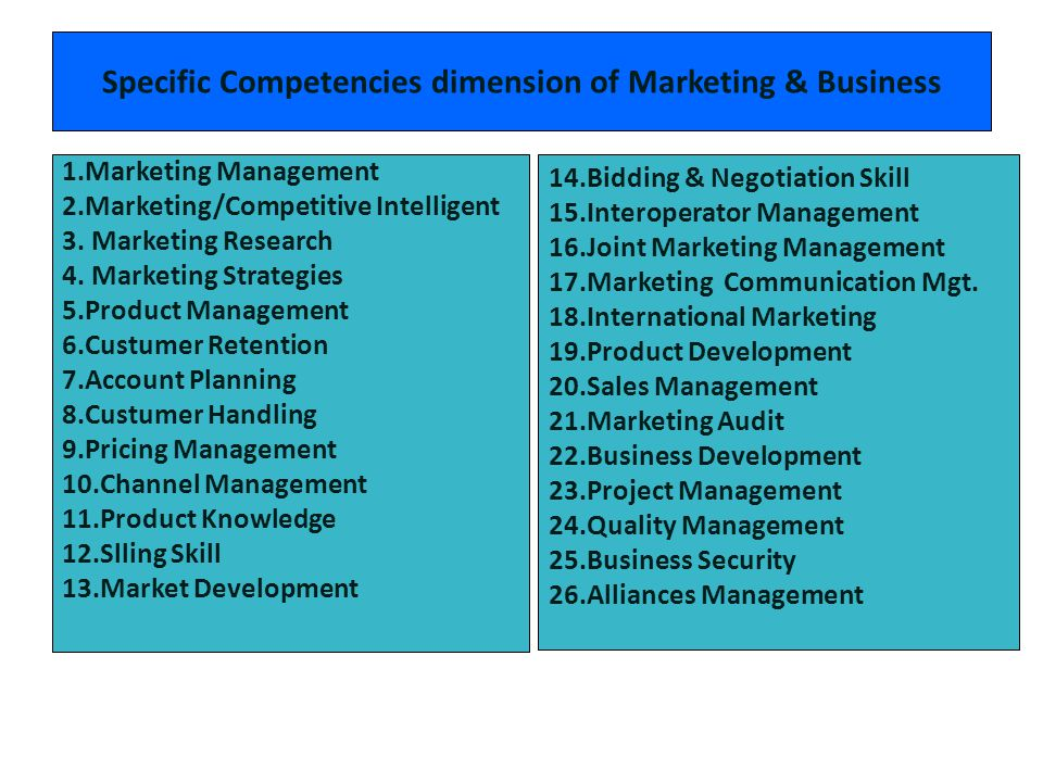 Specific Competencies dimension of Marketing & Business