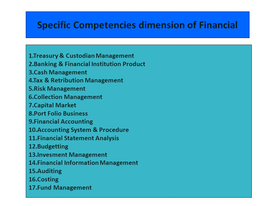 Specific Competencies dimension of Financial