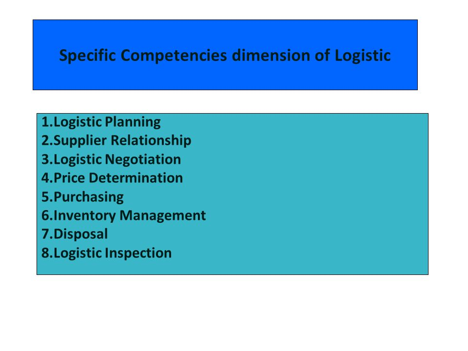 Specific Competencies dimension of Logistic