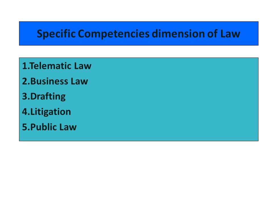 Specific Competencies dimension of Law