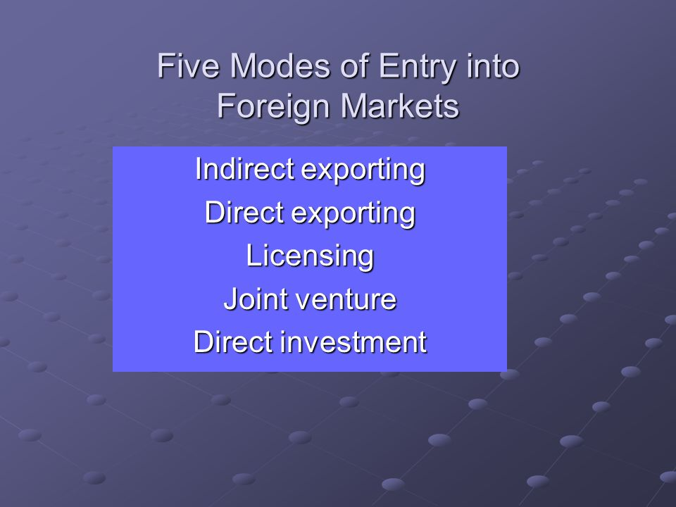 Five Modes of Entry into Foreign Markets