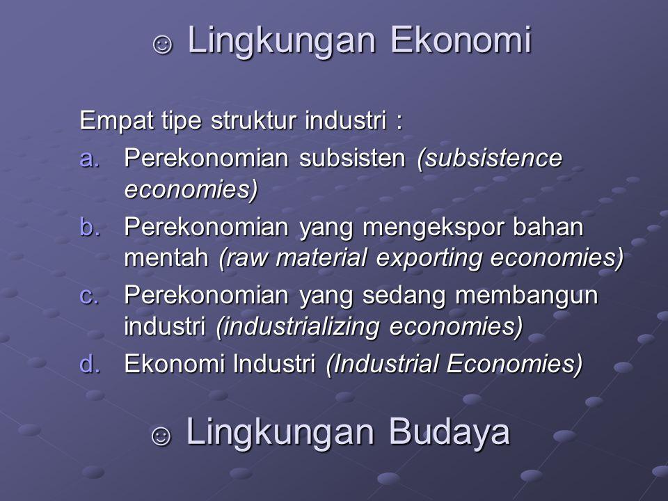 ☺ Lingkungan Ekonomi ☺ Lingkungan Budaya