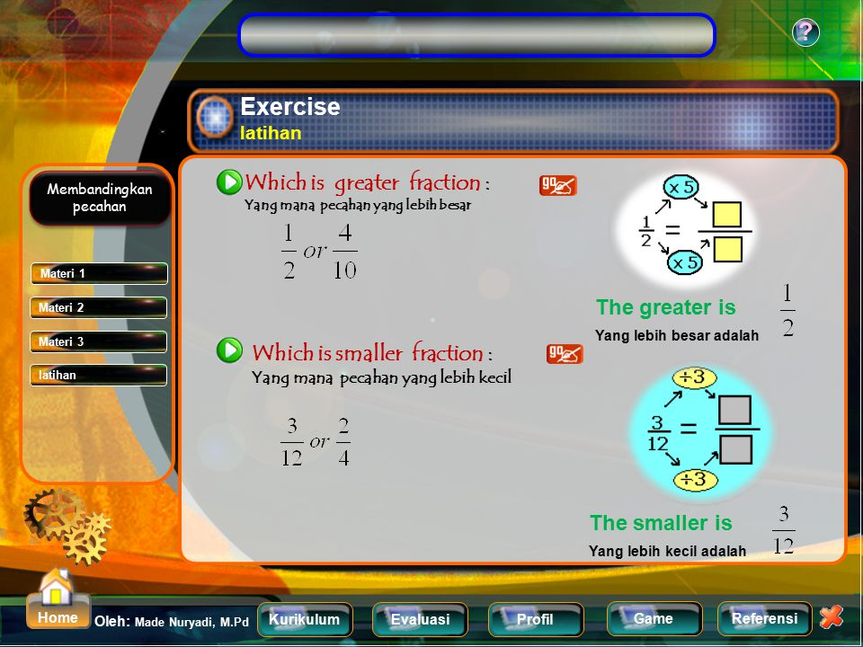 Exercise latihan Which is greater fraction : The greater is