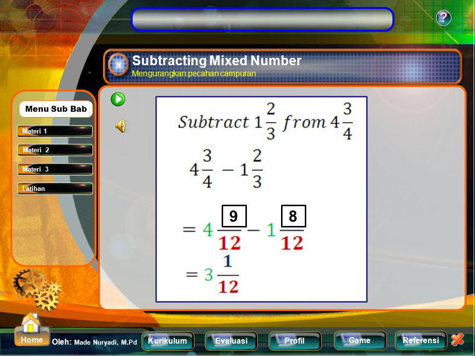Subtracting Mixed Number Mengurangkan pecahan campuran