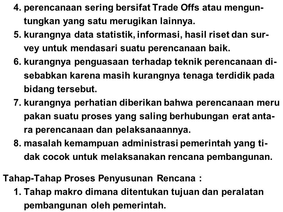 4. perencanaan sering bersifat Trade Offs atau mengun-