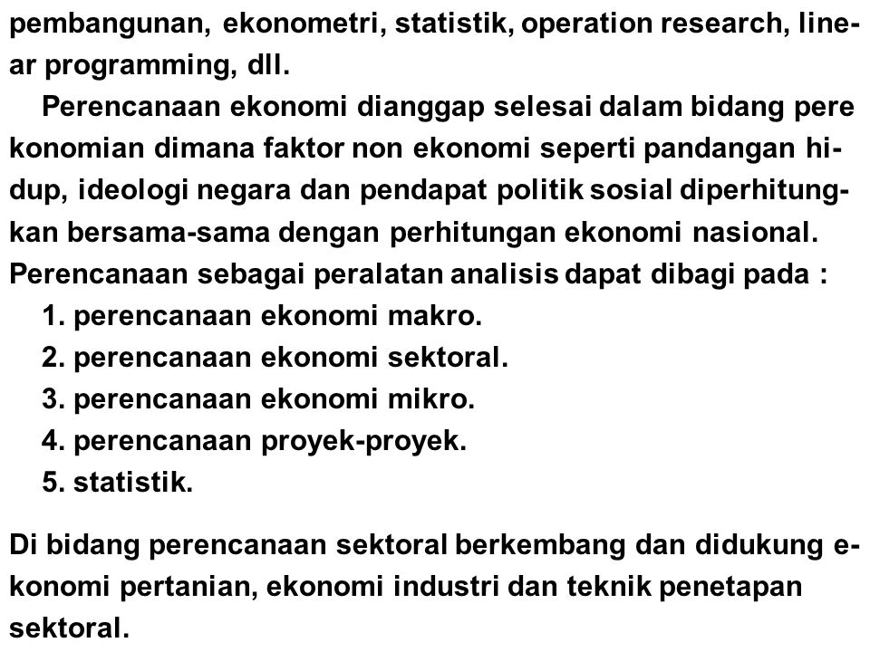 pembangunan, ekonometri, statistik, operation research, line-