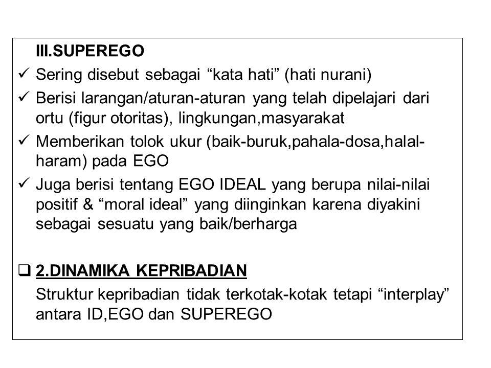 III.SUPEREGO Sering disebut sebagai kata hati (hati nurani)