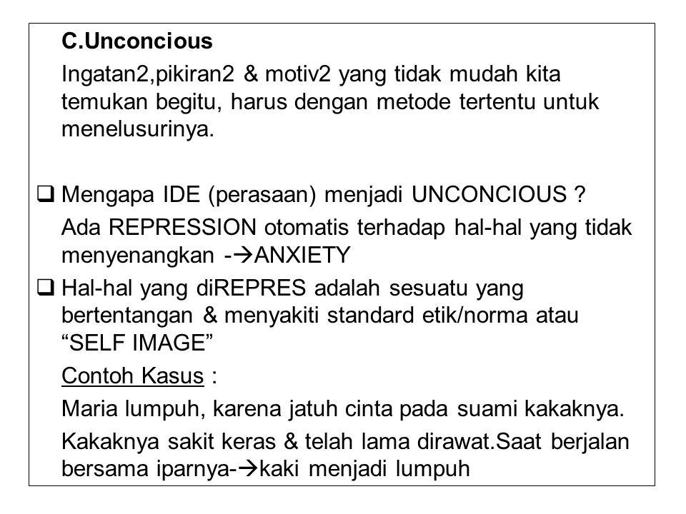 C.Unconcious Ingatan2,pikiran2 & motiv2 yang tidak mudah kita temukan begitu, harus dengan metode tertentu untuk menelusurinya.