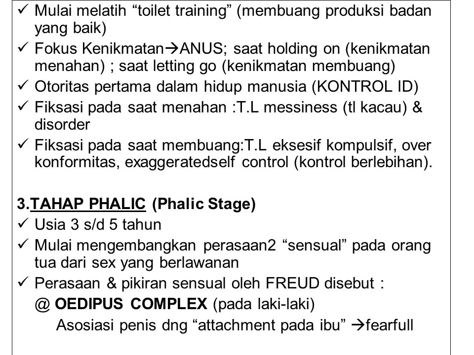 Mulai melatih toilet training (membuang produksi badan yang baik)