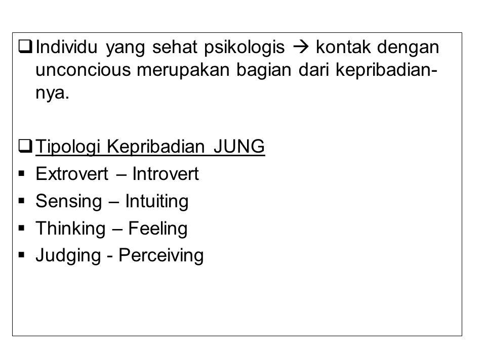Individu yang sehat psikologis  kontak dengan unconcious merupakan bagian dari kepribadian-nya.
