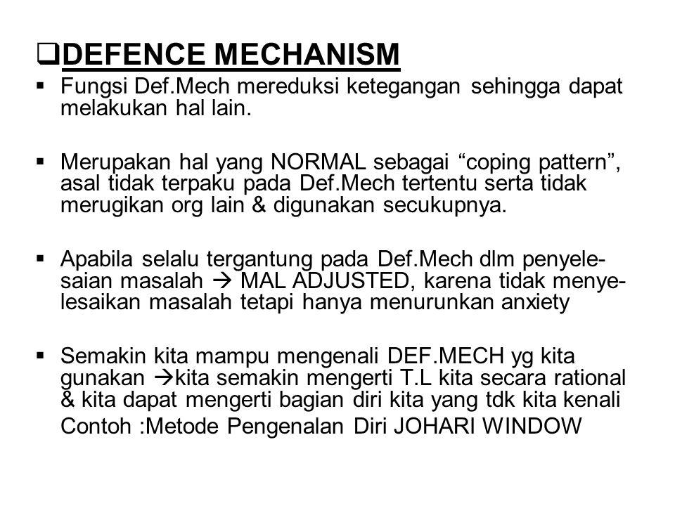 DEFENCE MECHANISM Fungsi Def.Mech mereduksi ketegangan sehingga dapat melakukan hal lain.