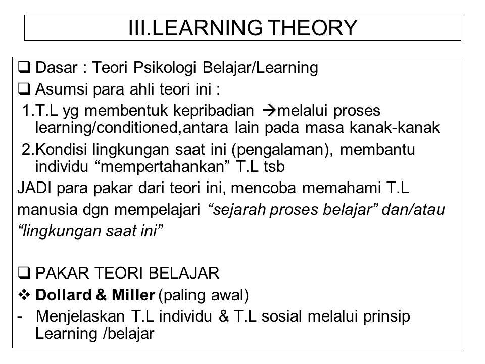 III.LEARNING THEORY Dasar : Teori Psikologi Belajar/Learning