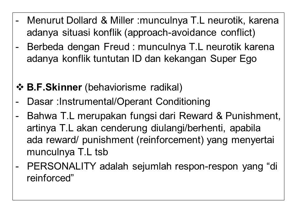 - Menurut Dollard & Miller :munculnya T