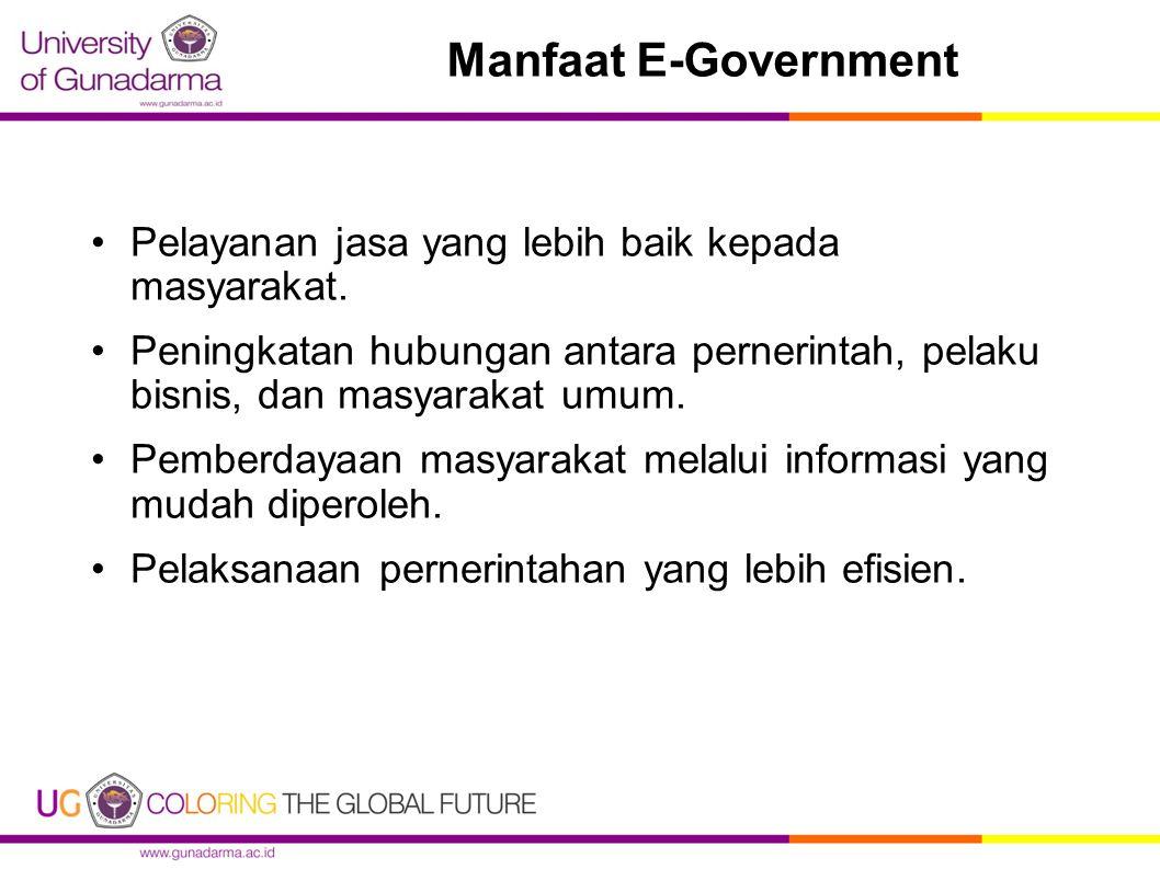 Manfaat E-Government Pelayanan jasa yang lebih baik kepada masyarakat.