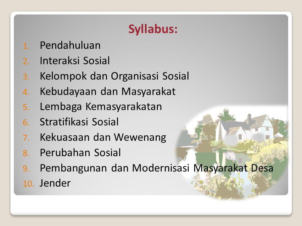 Syllabus: Pendahuluan Interaksi Sosial Kelompok dan Organisasi Sosial