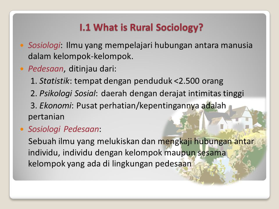 I.1 What is Rural Sociology