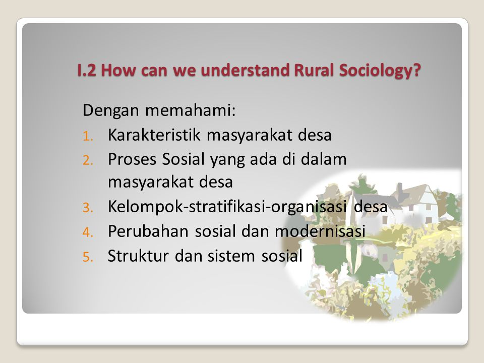 I.2 How can we understand Rural Sociology