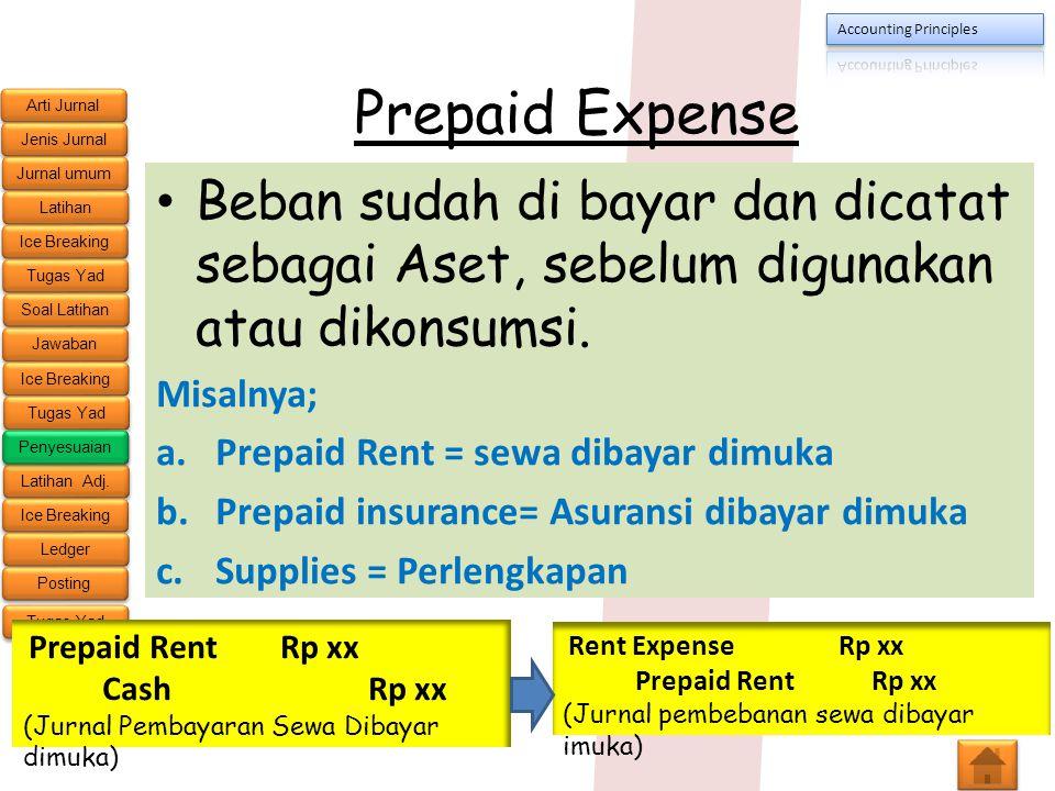 Prepaid Expense Beban sudah di bayar dan dicatat sebagai Aset, sebelum digunakan atau dikonsumsi. Misalnya;