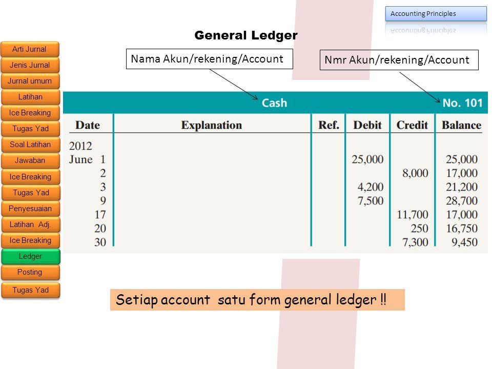 Setiap account satu form general ledger !!