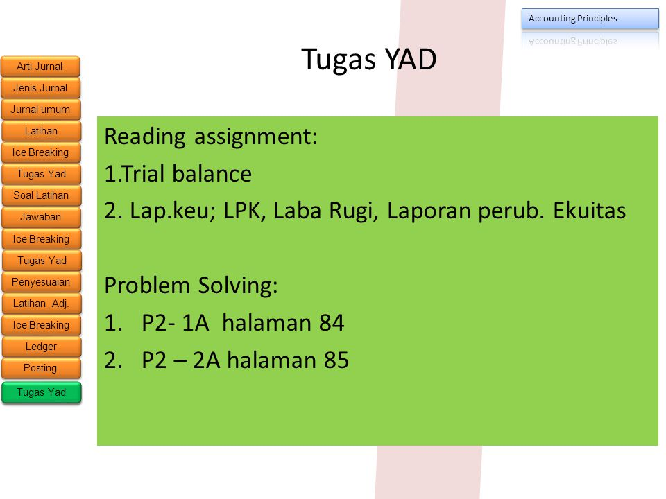 Tugas YAD Reading assignment: 1.Trial balance