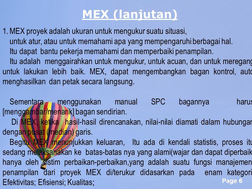 MEX (lanjutan) MEX proyek adalah ukuran untuk mengukur suatu situasi,