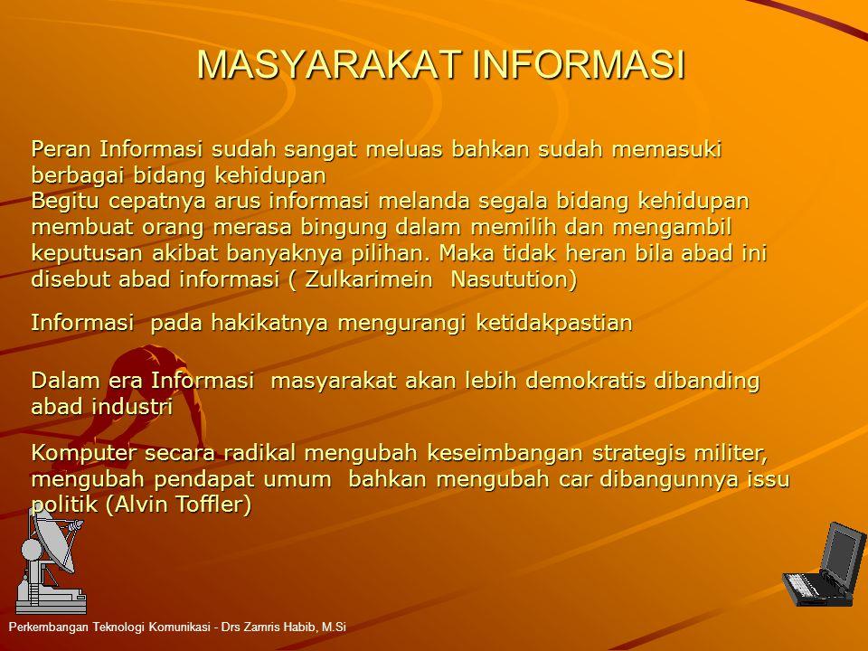 MASYARAKAT INFORMASI Peran Informasi sudah sangat meluas bahkan sudah memasuki. berbagai bidang kehidupan.