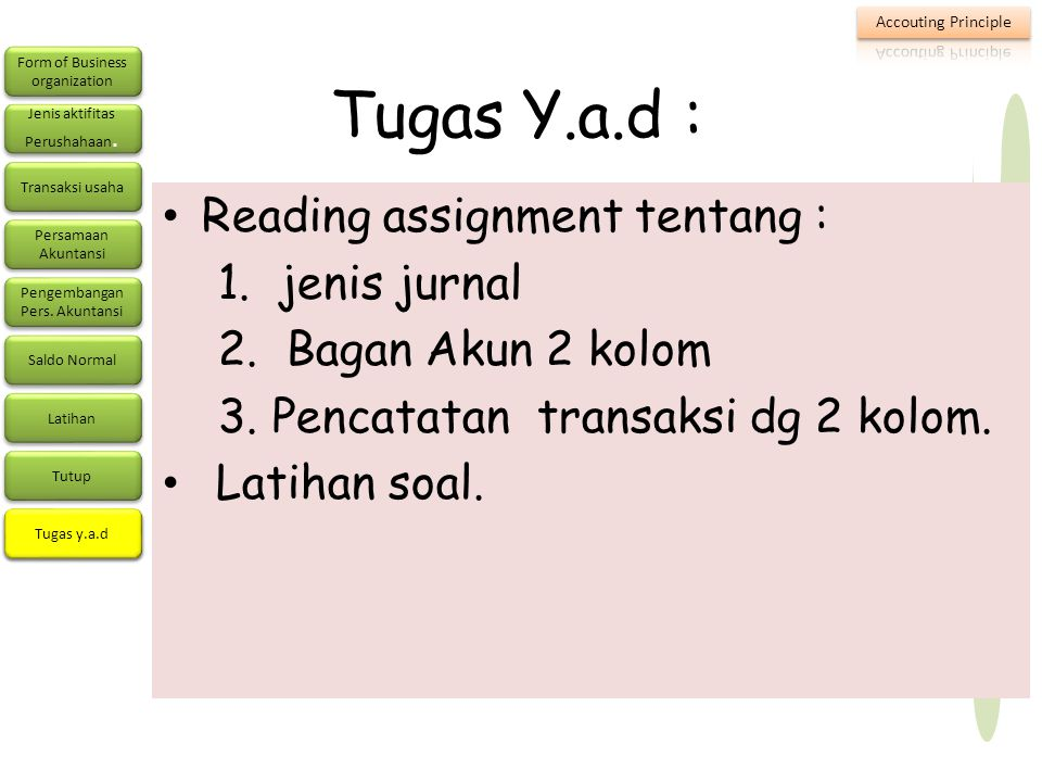 Tugas Y.a.d : Reading assignment tentang : 1. jenis jurnal
