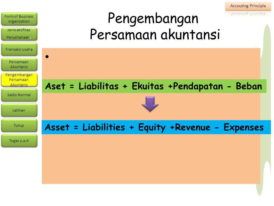 Pengembangan Persamaan akuntansi