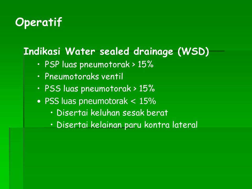 Operatif Indikasi Water sealed drainage (WSD)