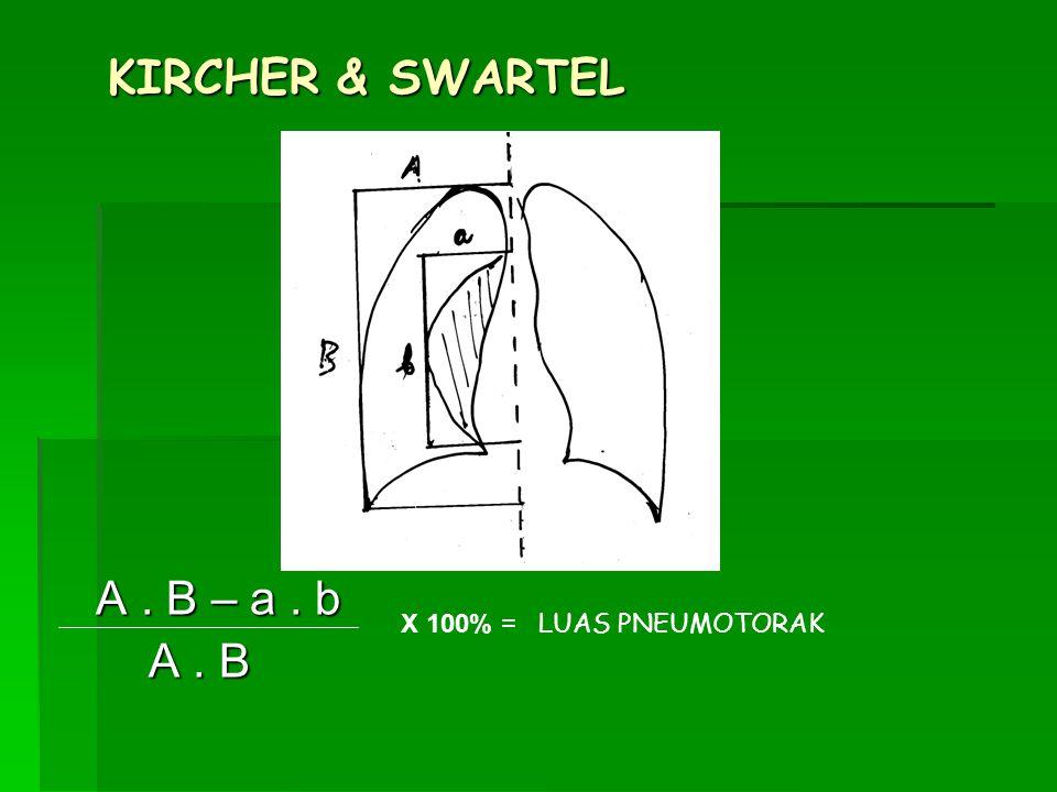 KIRCHER & SWARTEL A . B – a . b A . B X 100% = LUAS PNEUMOTORAK