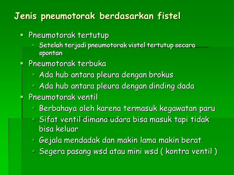 Jenis pneumotorak berdasarkan fistel