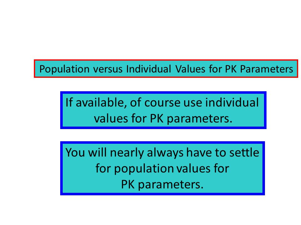 If available, of course use individual values for PK parameters.