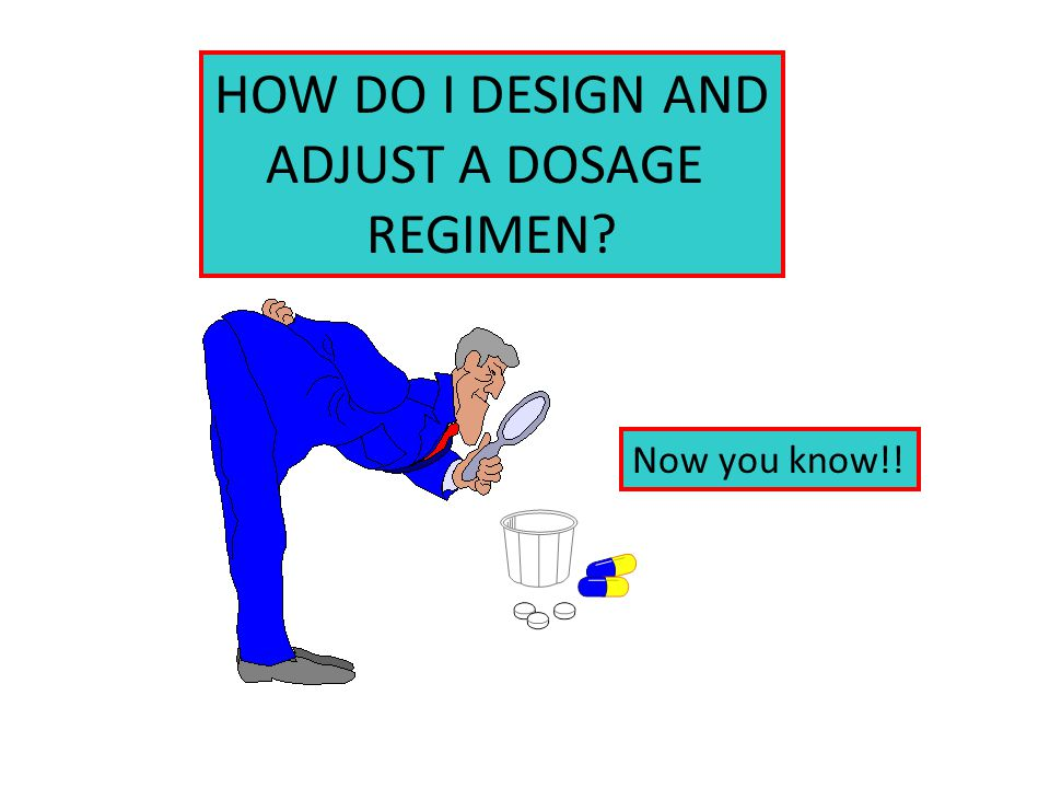 HOW DO I DESIGN AND ADJUST A DOSAGE REGIMEN Now you know!!