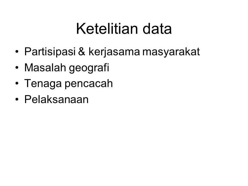 Ketelitian data Partisipasi & kerjasama masyarakat Masalah geografi