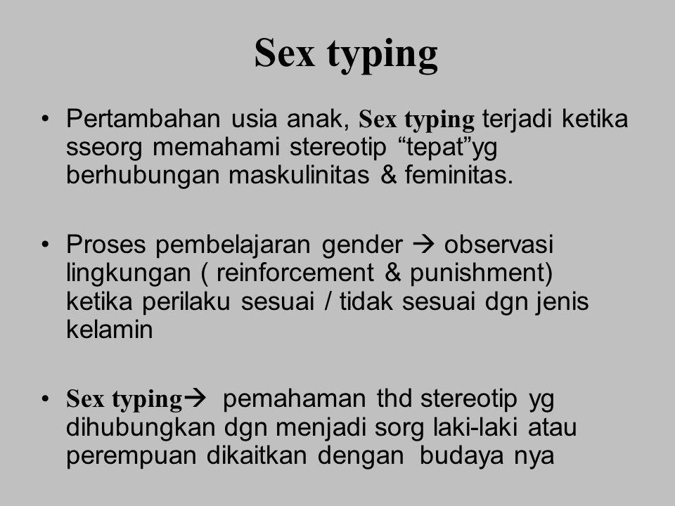 Sex typing Pertambahan usia anak, Sex typing terjadi ketika sseorg memahami stereotip tepat yg berhubungan maskulinitas & feminitas.