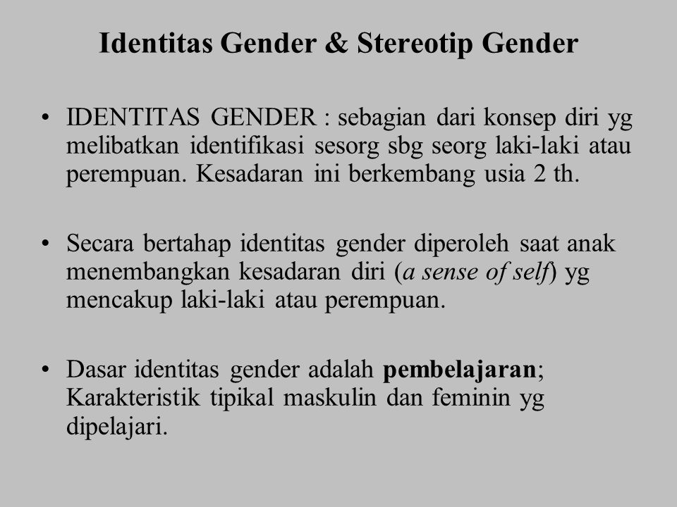 Identitas Gender & Stereotip Gender