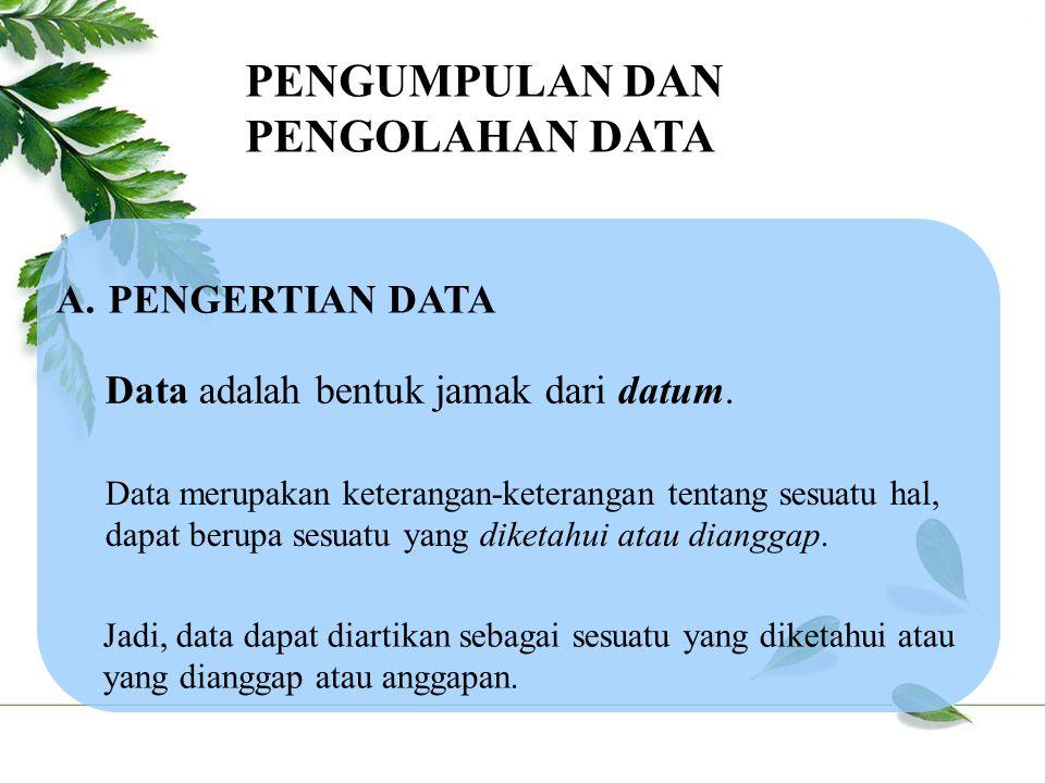 PENGUMPULAN DAN PENGOLAHAN DATA PENGERTIAN DATA