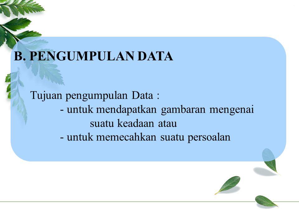 B. PENGUMPULAN DATA Tujuan pengumpulan Data :