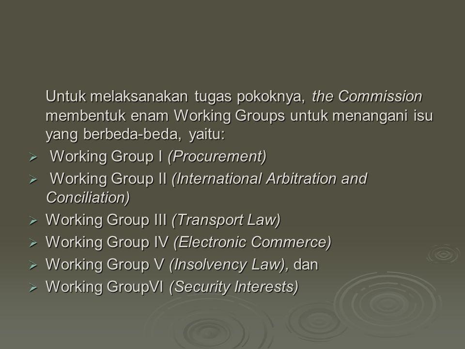 Untuk melaksanakan tugas pokoknya, the Commission membentuk enam Working Groups untuk menangani isu yang berbeda-beda, yaitu: