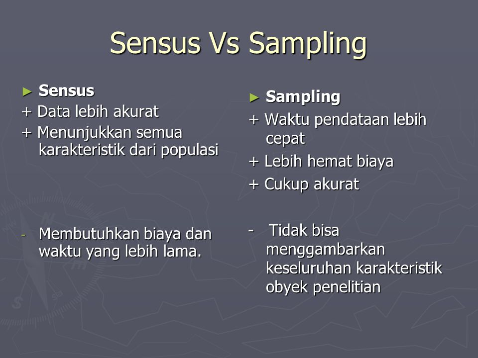 Sensus Vs Sampling Sensus Sampling + Data lebih akurat
