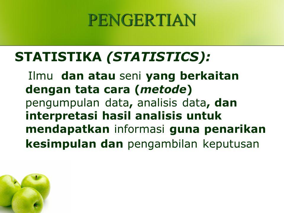 PENGERTIAN STATISTIKA (STATISTICS):
