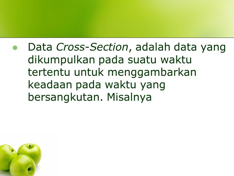 Data Cross-Section, adalah data yang dikumpulkan pada suatu waktu tertentu untuk menggambarkan keadaan pada waktu yang bersangkutan.