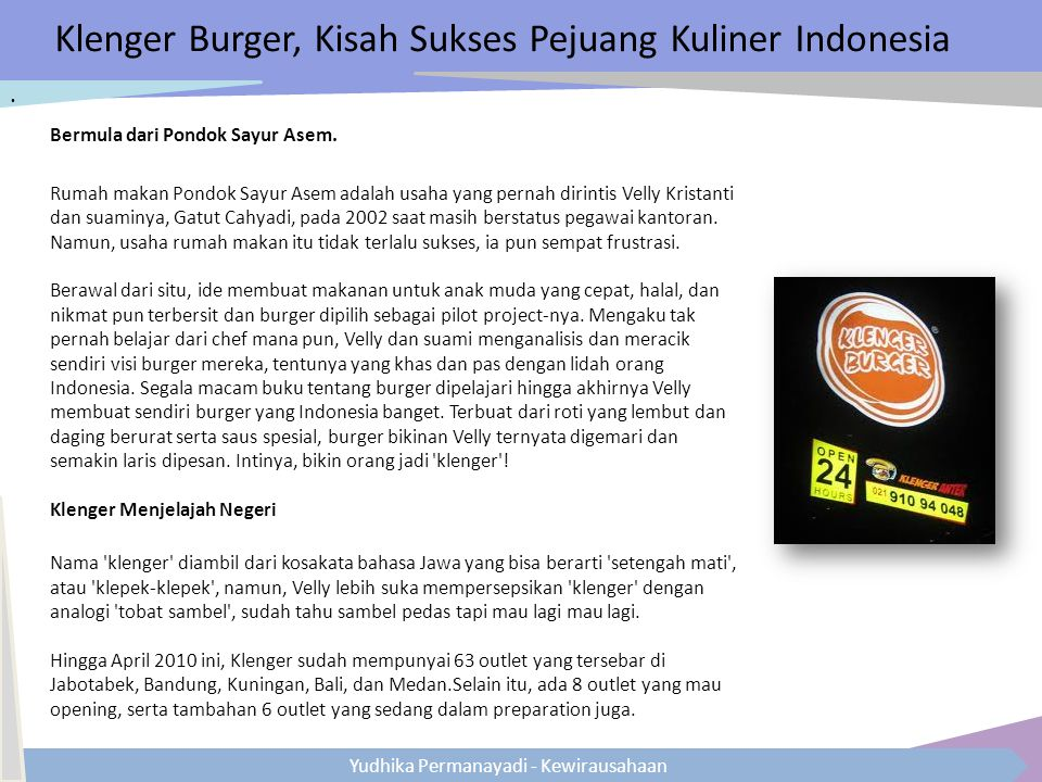 Klenger Burger, Kisah Sukses Pejuang Kuliner Indonesia
